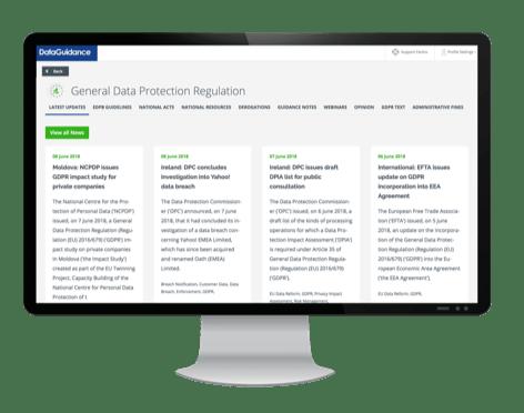OneTrust DataGuidance™ pantalla